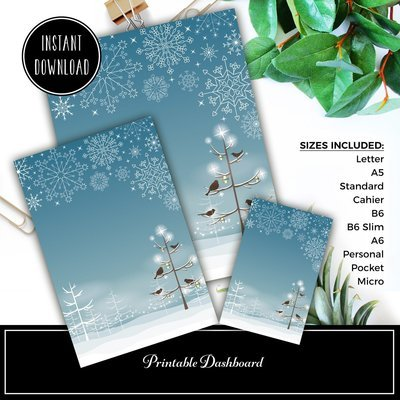 Winter Digital Illustration Printable / Digital Download Dashboard Set