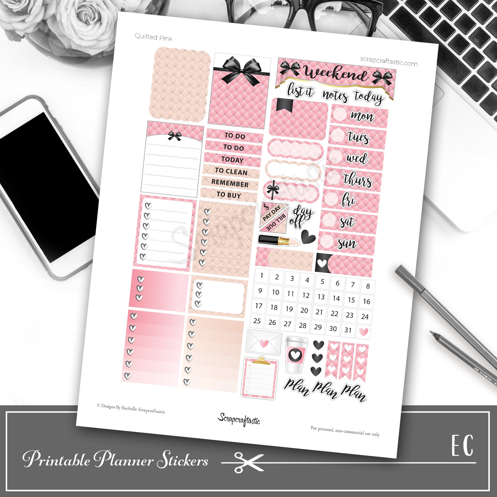 Quilted Pink Printable Planner Stickers 04164