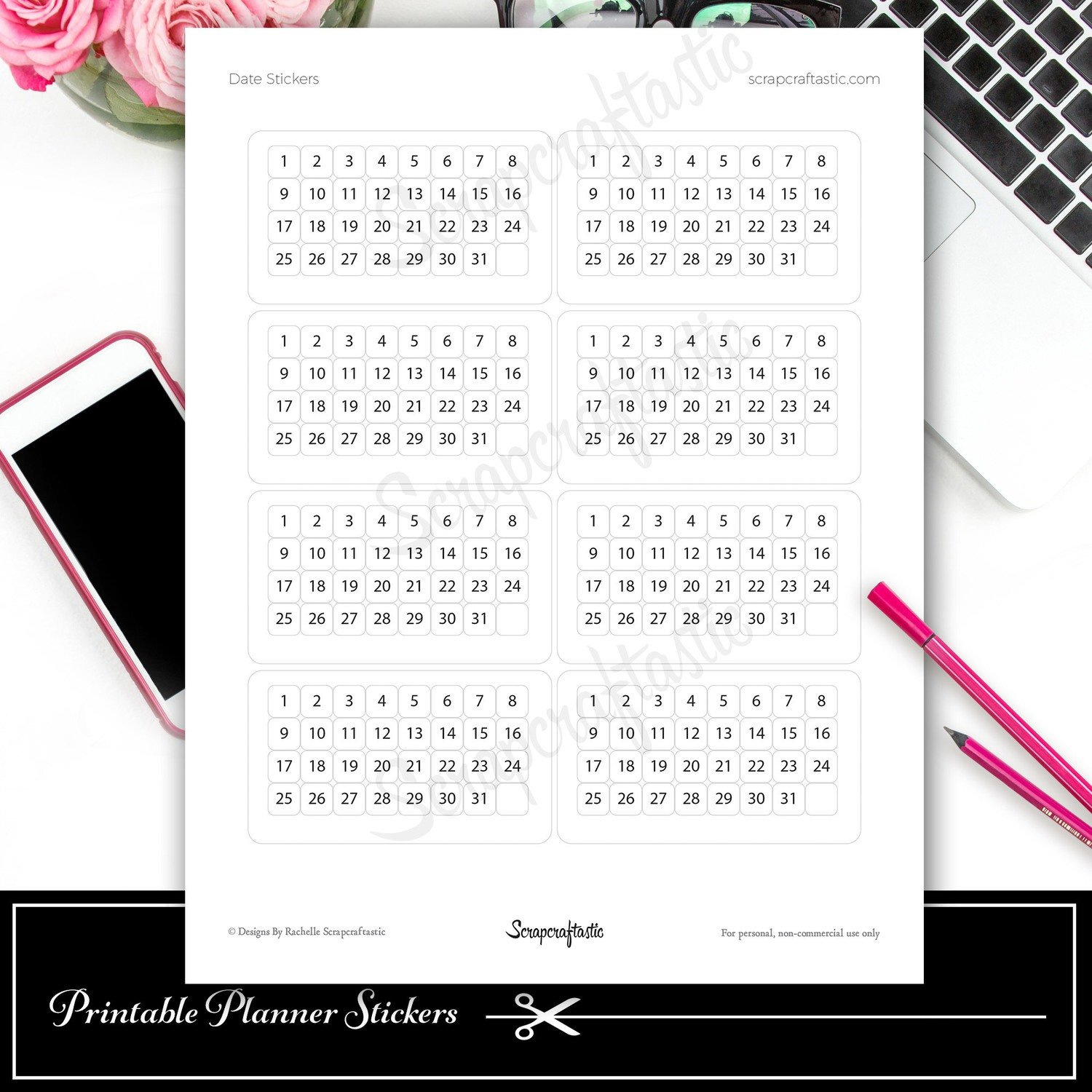 Rounded Date Printable Planner Stickers