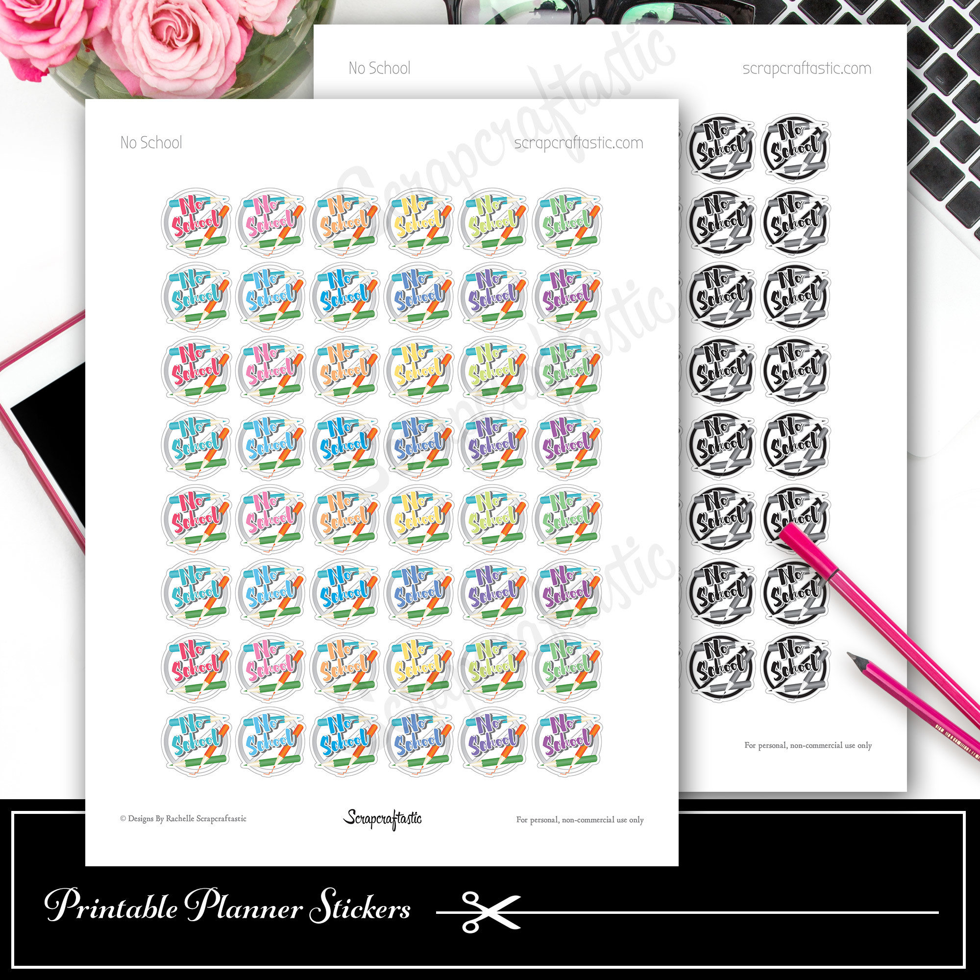 No School Printable Planner Stickers for Decor Planning in Paper Planners, Traveler's Notebooks, A5 Planners, Personal Planners 90008
