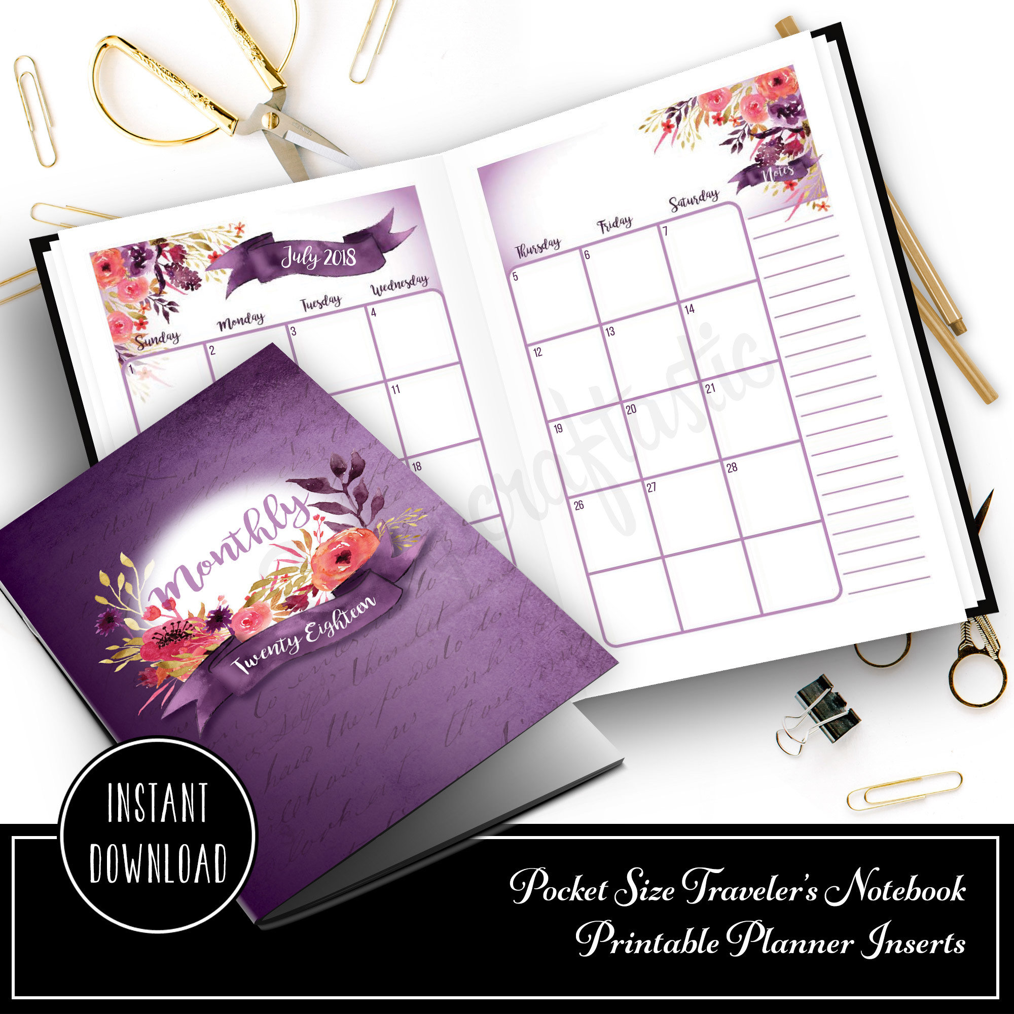 FULL NOTEBOOK: Royalty Dated 2018 Month on Two Page (MO2P) POCKET SIZE Designed Traveler's Notebook Printable Planner Inserts/Refill 00323