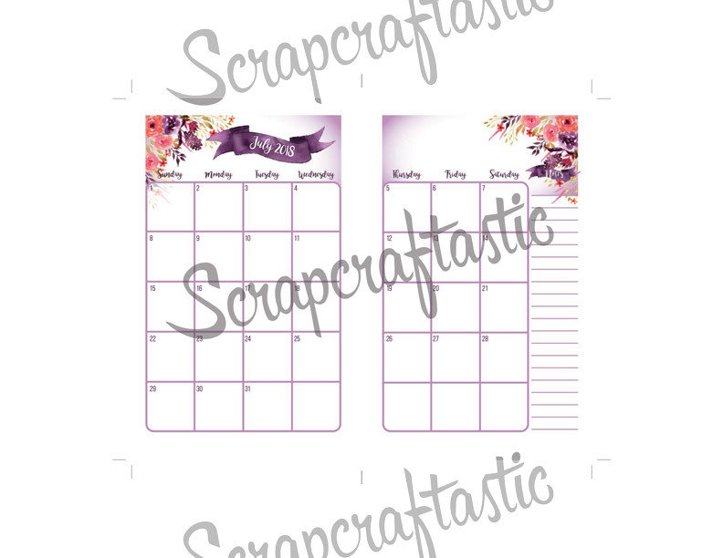 FULL NOTEBOOK: Royalty Dated 2018 Month on Two Page (MO2P) POCKET SIZE Designed Traveler's Notebook Printable Planner Inserts/Refill