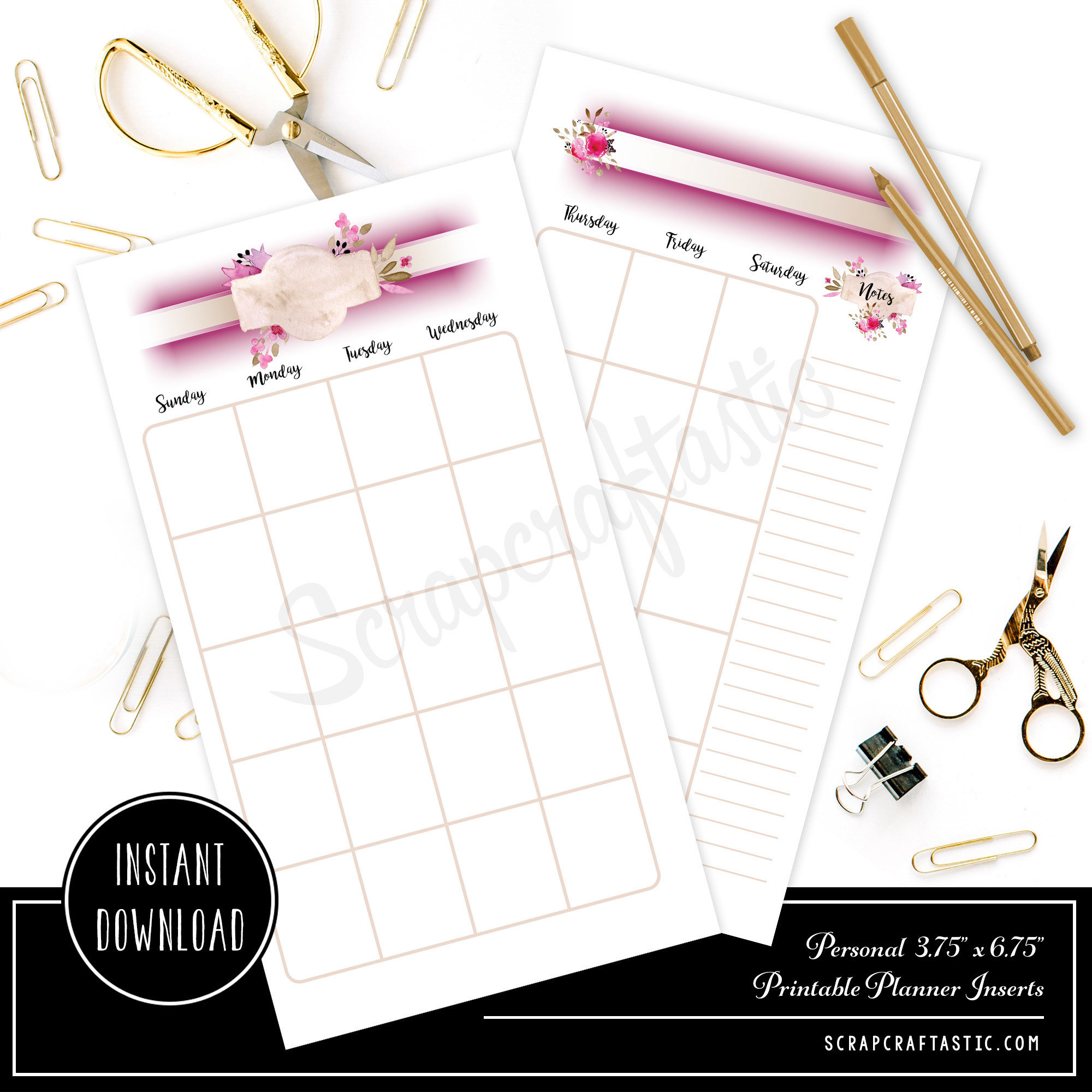 Rose Cream Undated Month on Two Page (MO2P) PERSONAL SIZE Designed Traveler's Notebook & Printable Planner Inserts including Designed Cover 00325