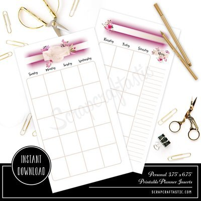 Rose Cream Undated Month on Two Page (MO2P) PERSONAL SIZE Designed Traveler's Notebook & Printable Planner Inserts including Designed Cover