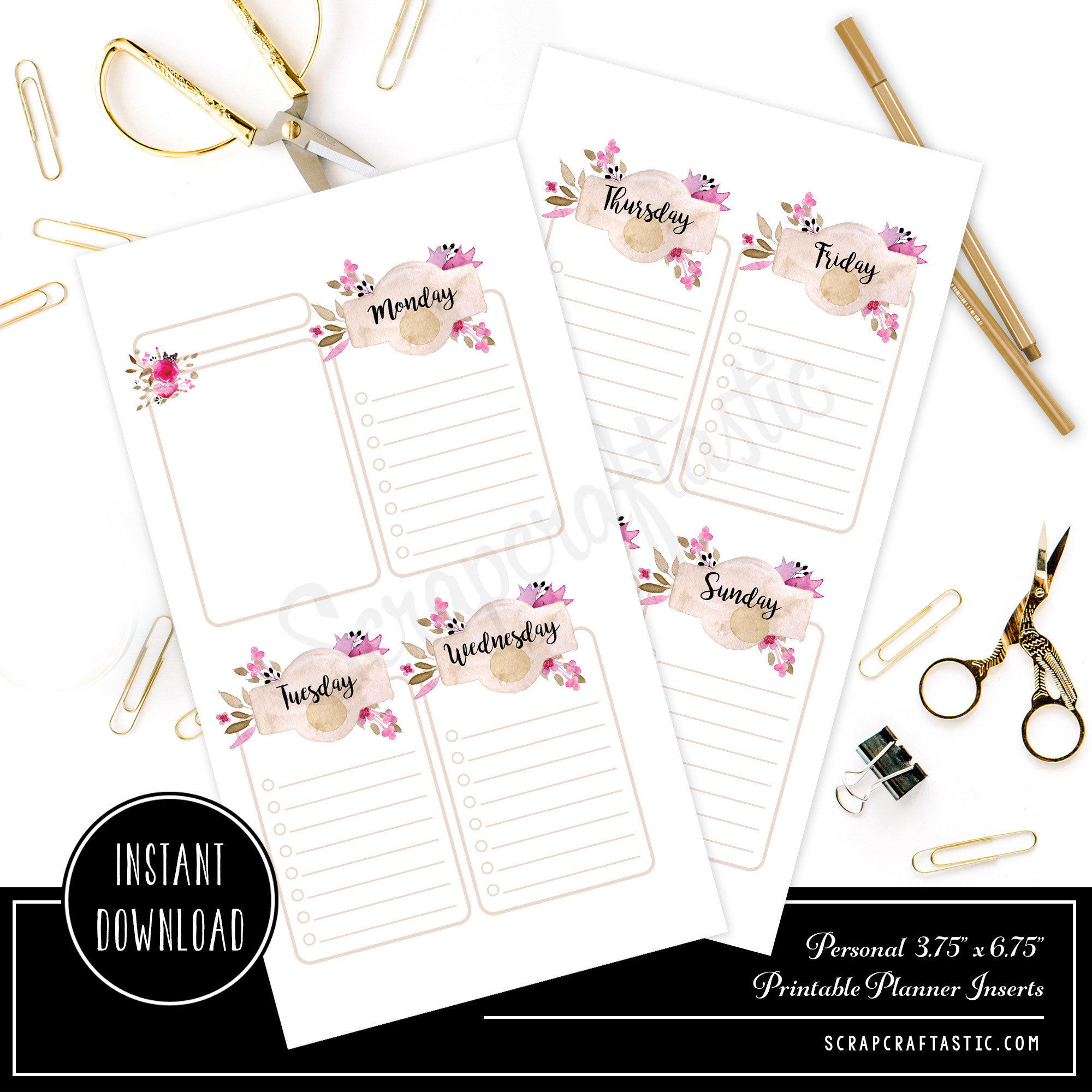 Rose Cream Undated Week on Two Page (WO2P) and Lined Notes PERSONAL SIZE Designed Printable Travelers Notebook and Planner Inserts 00326