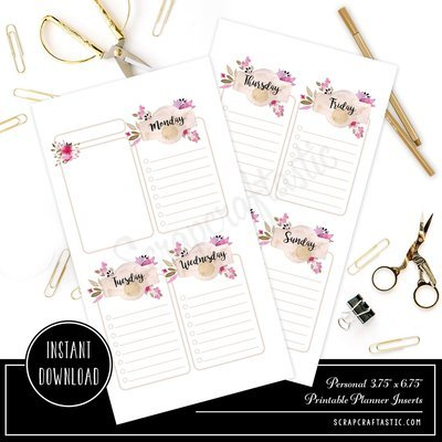 Rose Cream Undated Week on Two Page (WO2P) and Lined Notes PERSONAL SIZE Designed Printable Travelers Notebook and Planner Inserts
