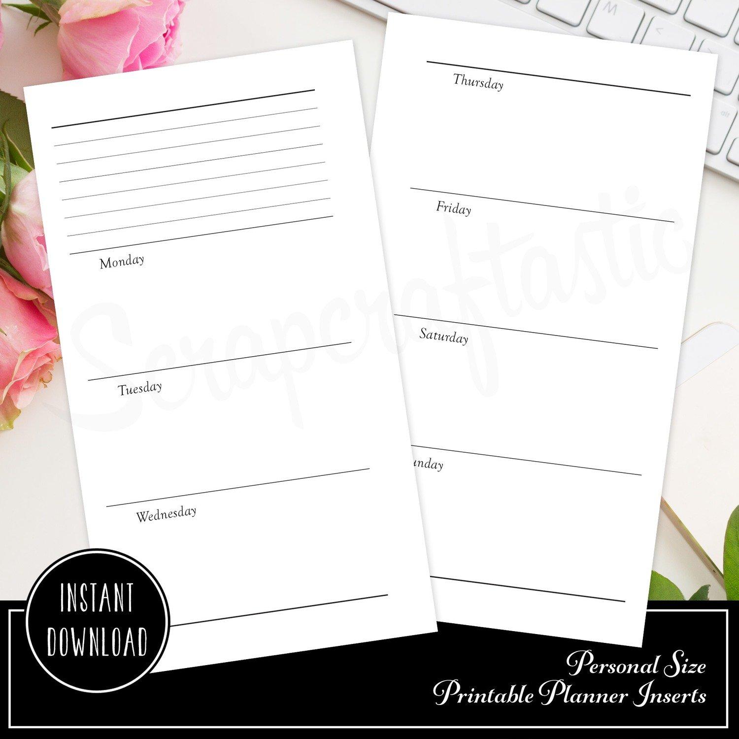 Horizontal Undated Week on Two Pages (WO2P) Personal Size Ring Bound or Traveler's Notebook Printable Planner Inserts
