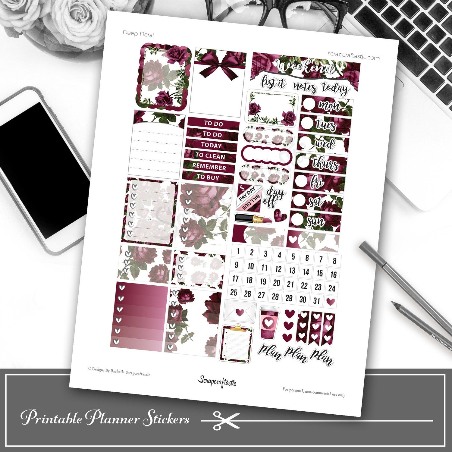 Deep Floral Printable Planner Stickers