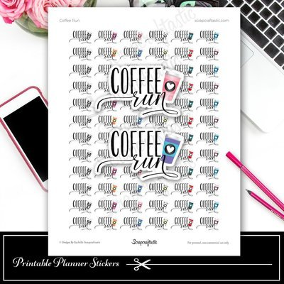 Coffee Run Printable Planner Stickers