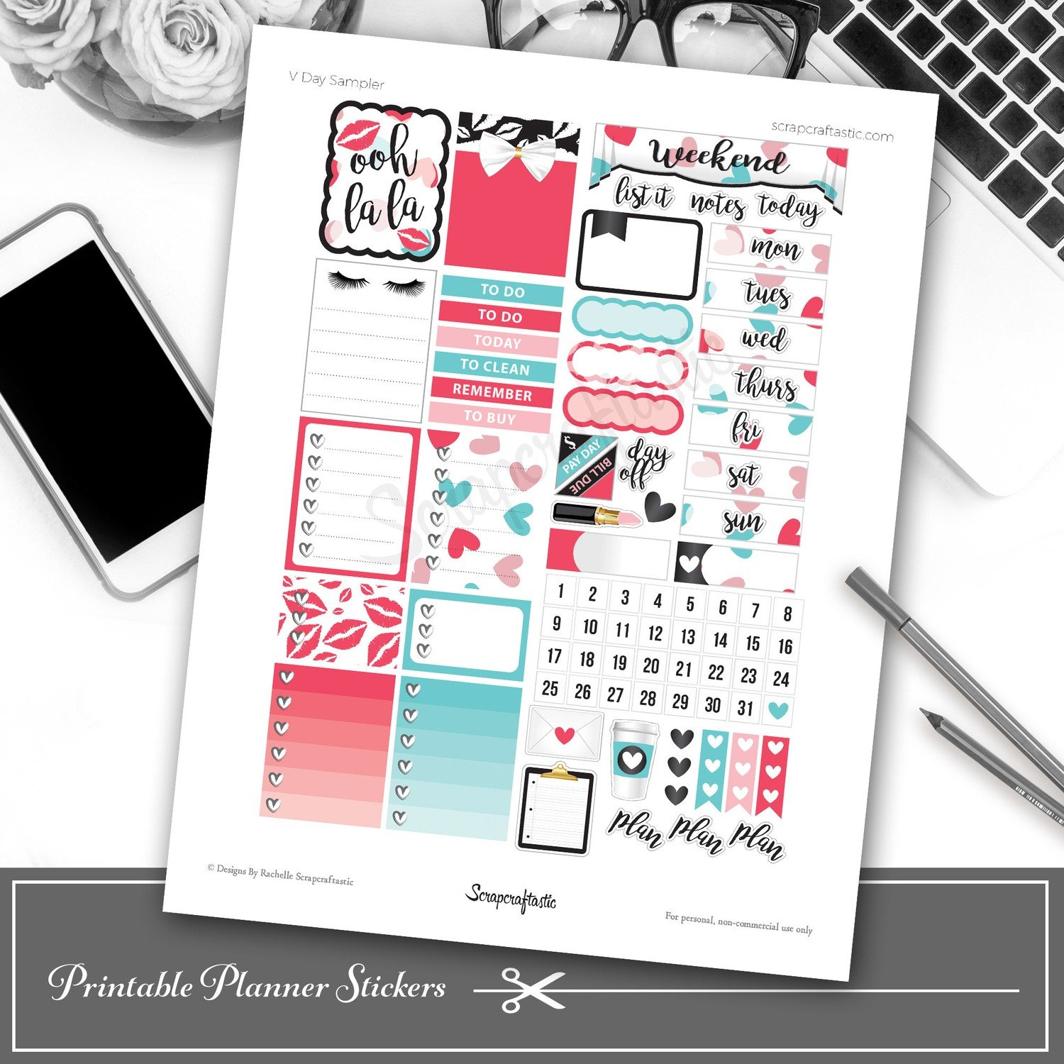 V Day Printable Planner Stickers
