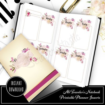 Rose Cream Undated Week on Two Page (WO2P) A6 Designed Printable Planner Inserts