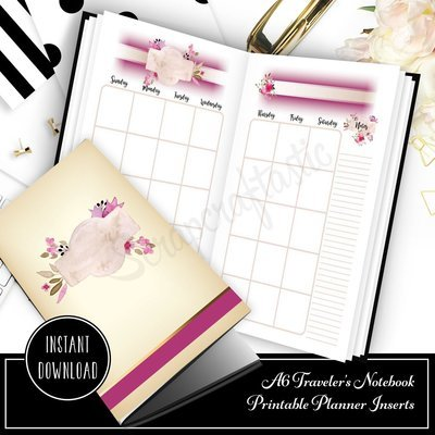 Rose Cream Undated Month on Two Page (MO2P) A6 Designed Printable Planner Inserts