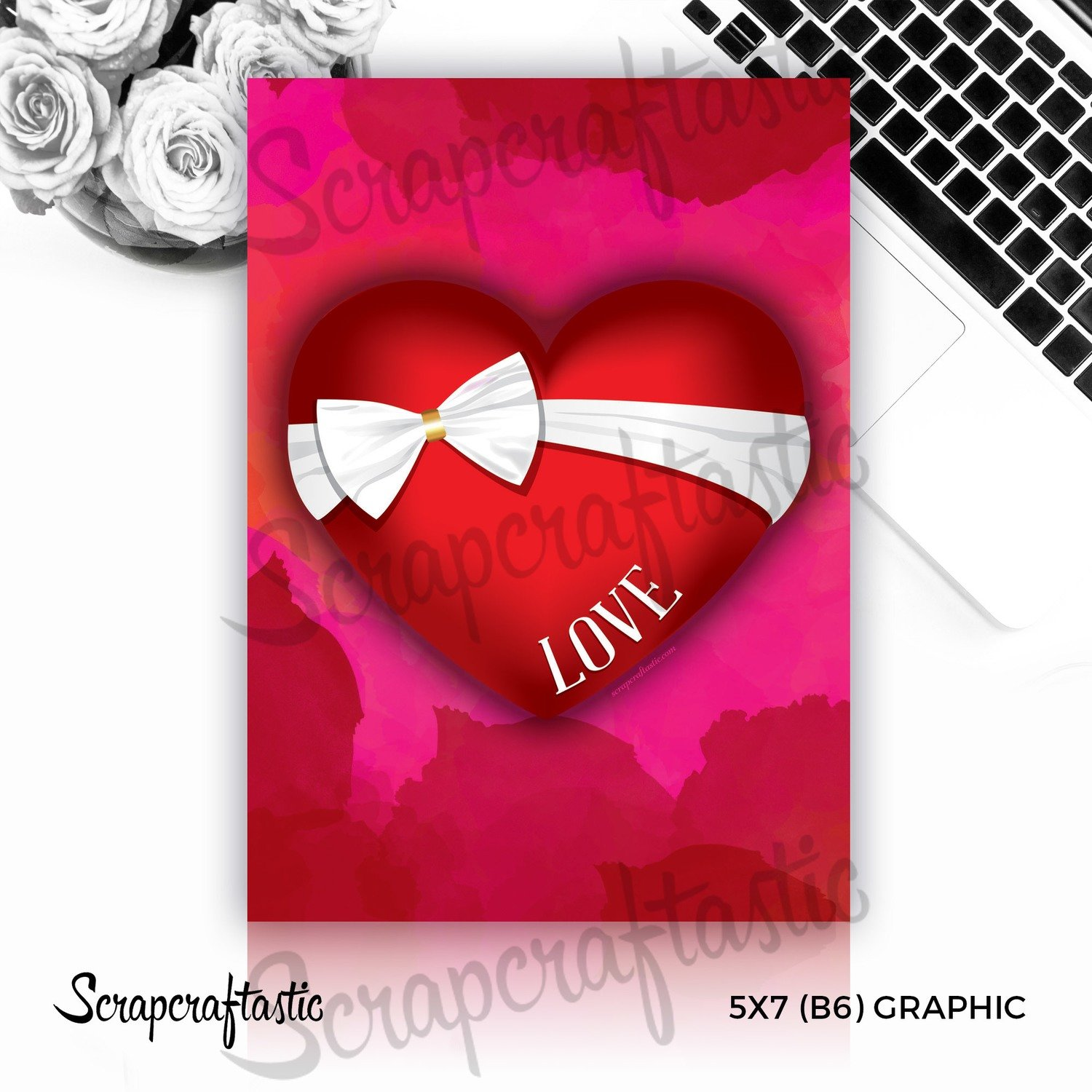 Bow Love Heart Free 5x7 (B6) Graphic Digital Download
