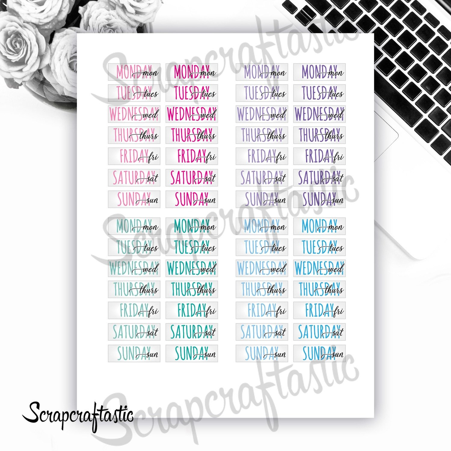 Weekday Date Covers Printable Planner Stickers