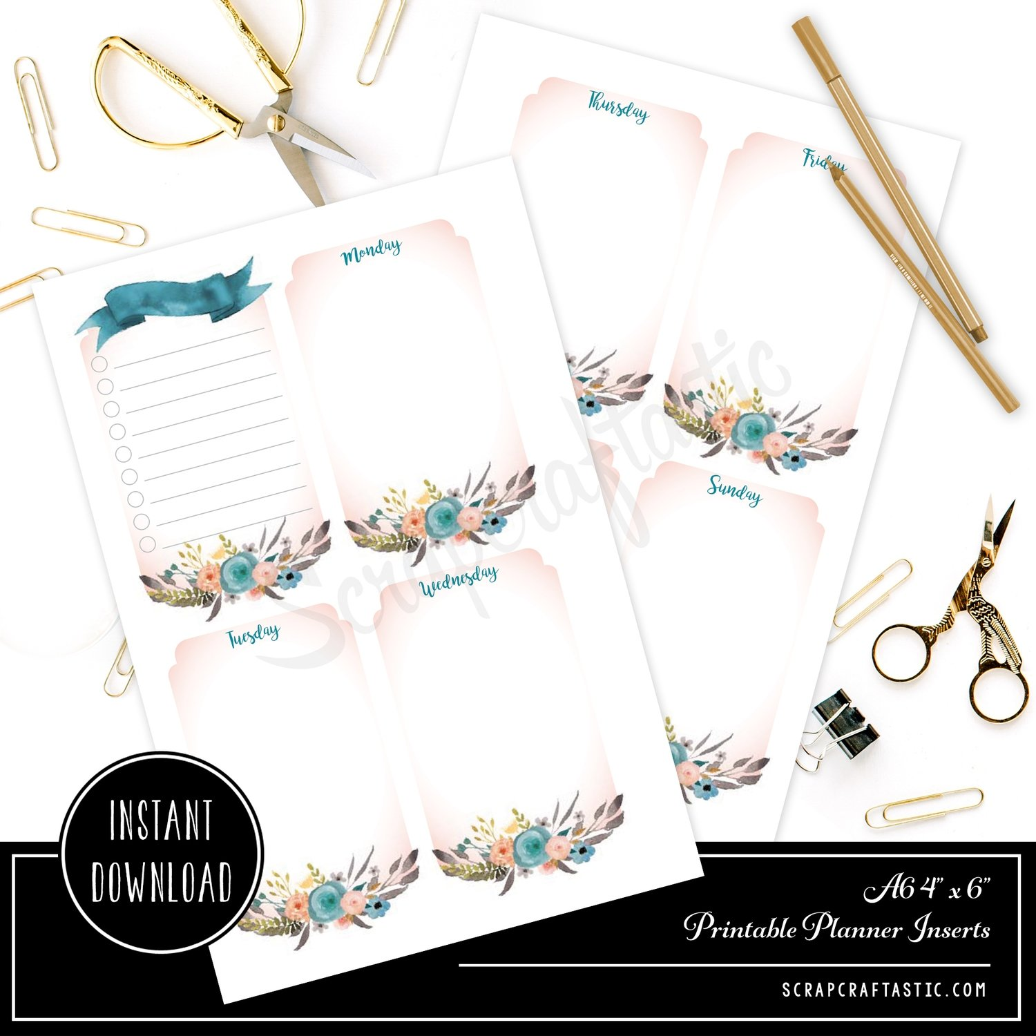 Ice Cream Undated Week 4x6 / A6 on Two Page (WO2P) Printable Planner Inserts