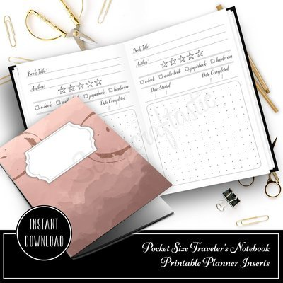 POCKET TN - Book / Reading Log and Review Pocket Size Traveler's Notebook Printable Insert