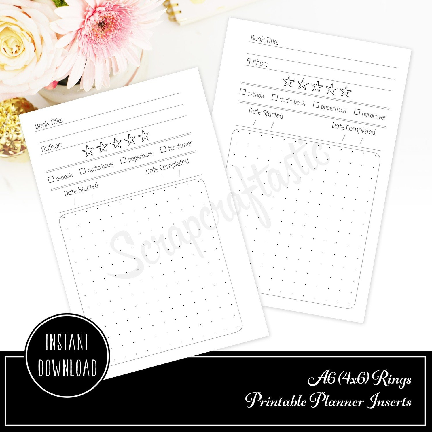 A6 RINGS - Reading Log Book Review A6 Rings / Binder Printable Planner Inserts