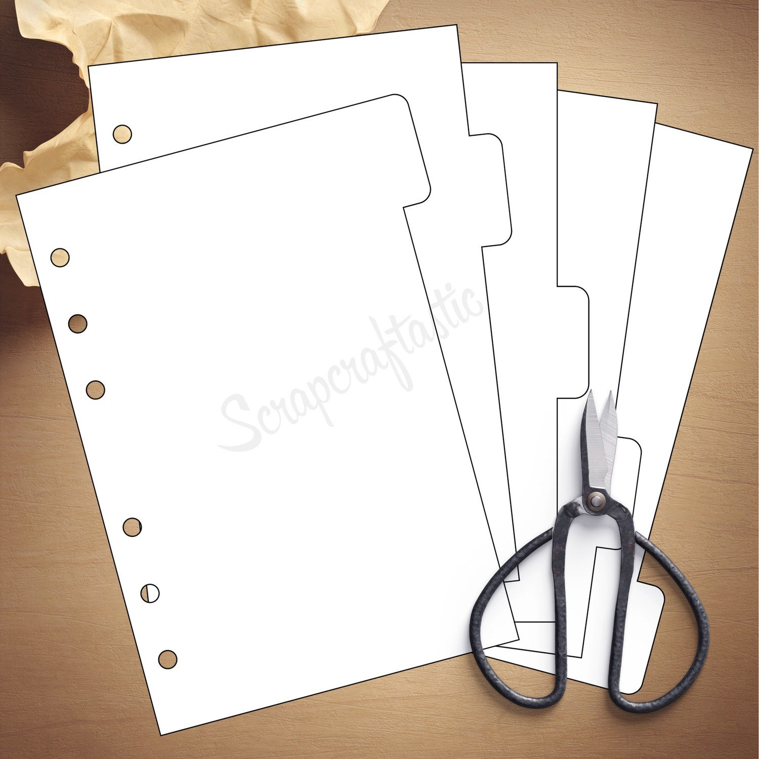 image regarding Printable Divider Tabs Template called A6 RINGS - 5 Tab Divider Printable Templates and Slash Documents