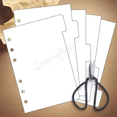 A6 RINGS - 5 Tab Divider Printable Templates and Cut Files