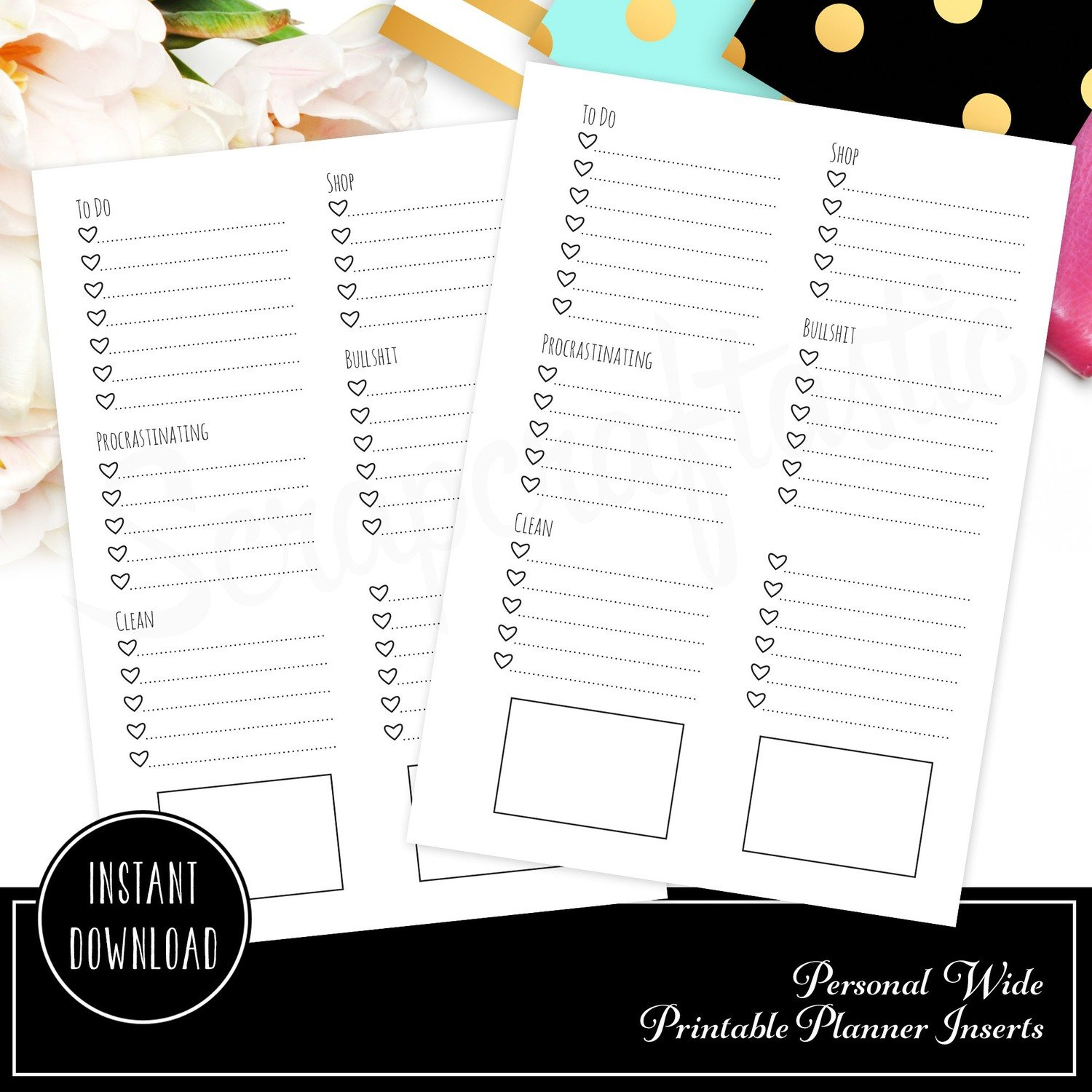 Personal Wide Rings - Extreme Listing Printable Planner Inserts