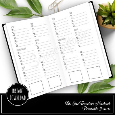 Extreme Listing B6 Travelers Notebook Printable Planner Inserts