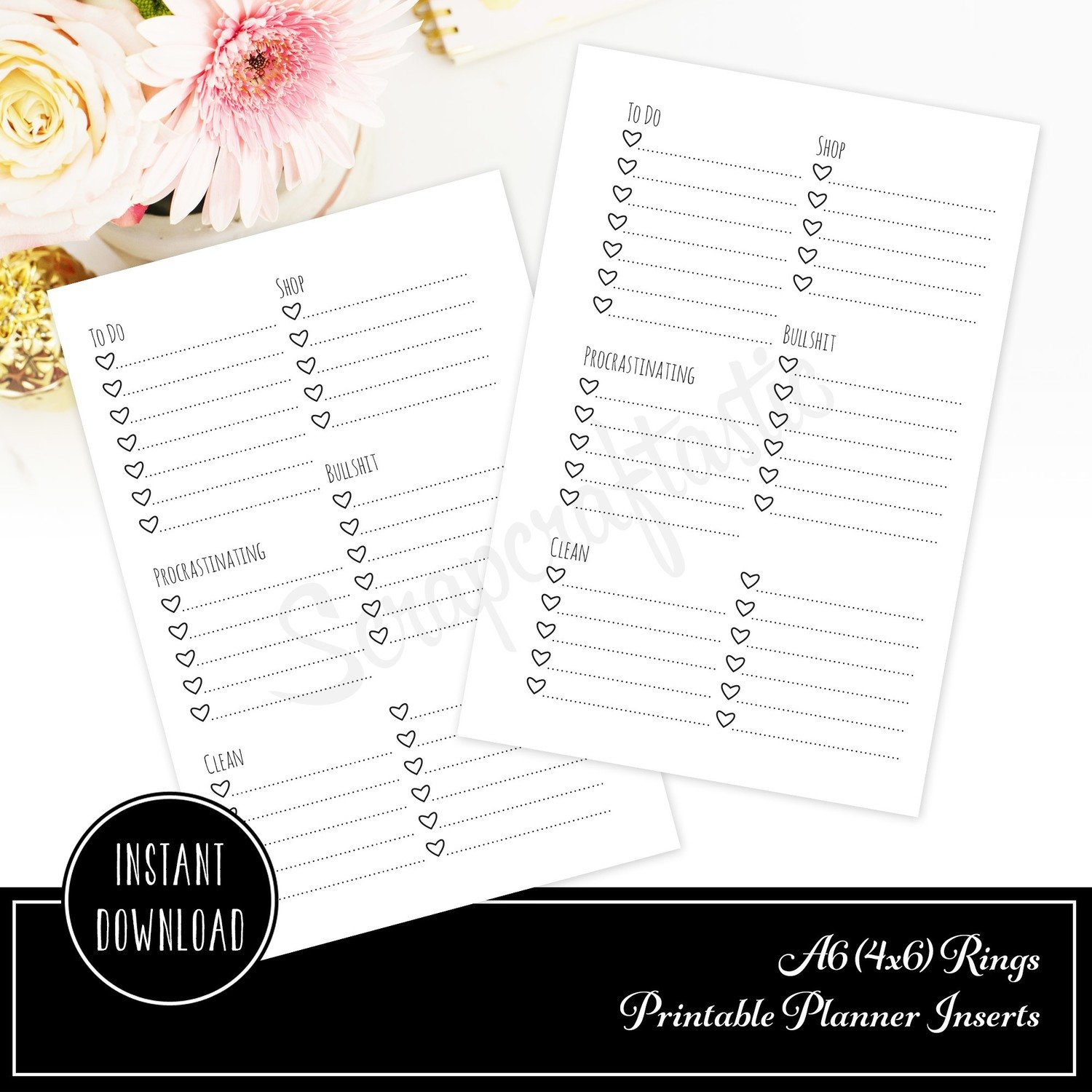 Extreme Listing A6 Rings Printable Planner Inserts
