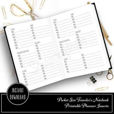 Extreme Listing Pocket Traveler's Notebook Printable Planner Inserts