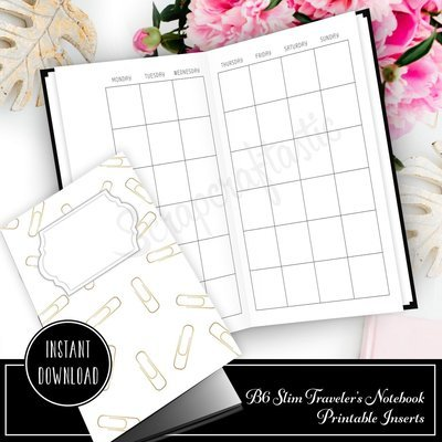 Month On Two Pages (MO2P) Undated B6 Slim Traveler's Notebook Printable Planner Inserts