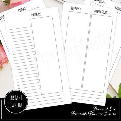 Planner Printable Insert Refill Undated WO4P Personal Size- Filofax Kikki K ColorCrush Erin Condren width columns