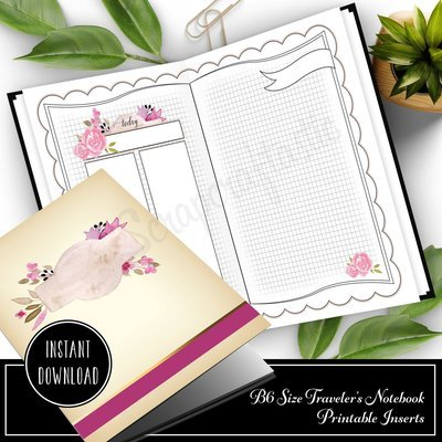 Rose Cream Undated Daily (DO2P) B6 Designed Printable Traveler's Notebook Inserts