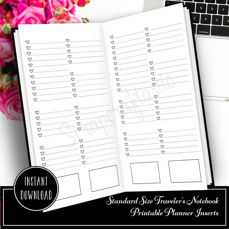 Extreme Listing No Headers Standard/Regular Size Traveler's Notebook Printable Planner Inserts