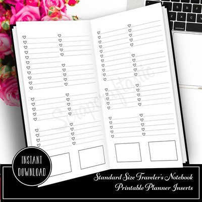 Extreme Listing No Headers Standard/Regular Size Traveler's Notebook Printable Planner Inserts
