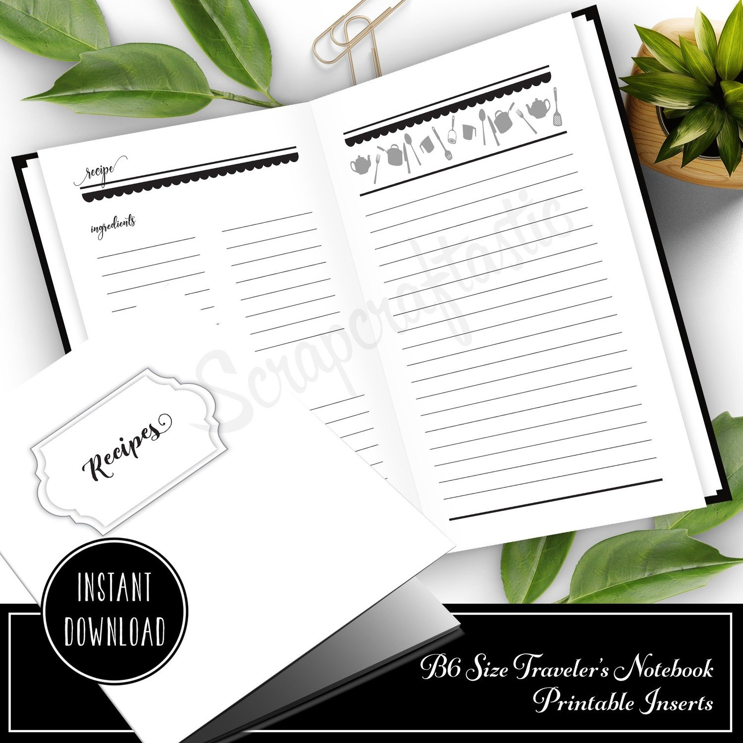 Recipes B6 Size Traveler's Notebook Printable Inserts