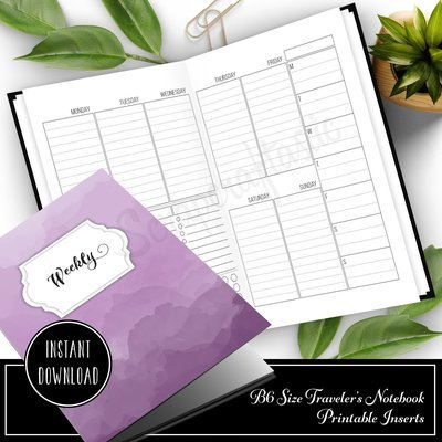 Week 33 Deluxe -  Week On Two Pages (WO2P)  B6 Size Traveler's Notebook Printable Planner Inserts