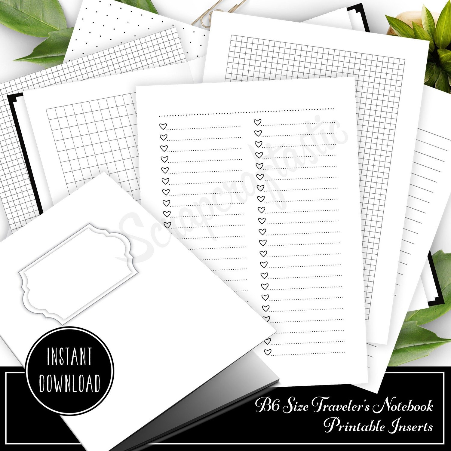 image about Printable Notebook Covers called The Essentials B6 Visitors Laptop computer Printable Inserts - Deal with, Checklists, Grids, Dot Grids, Included and Blank Inserts