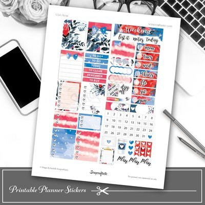 USA Floral Printable Planner Stickers