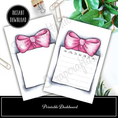 Pink Bow and Box A6 4x6 Original Artwork Printable Dashboard
