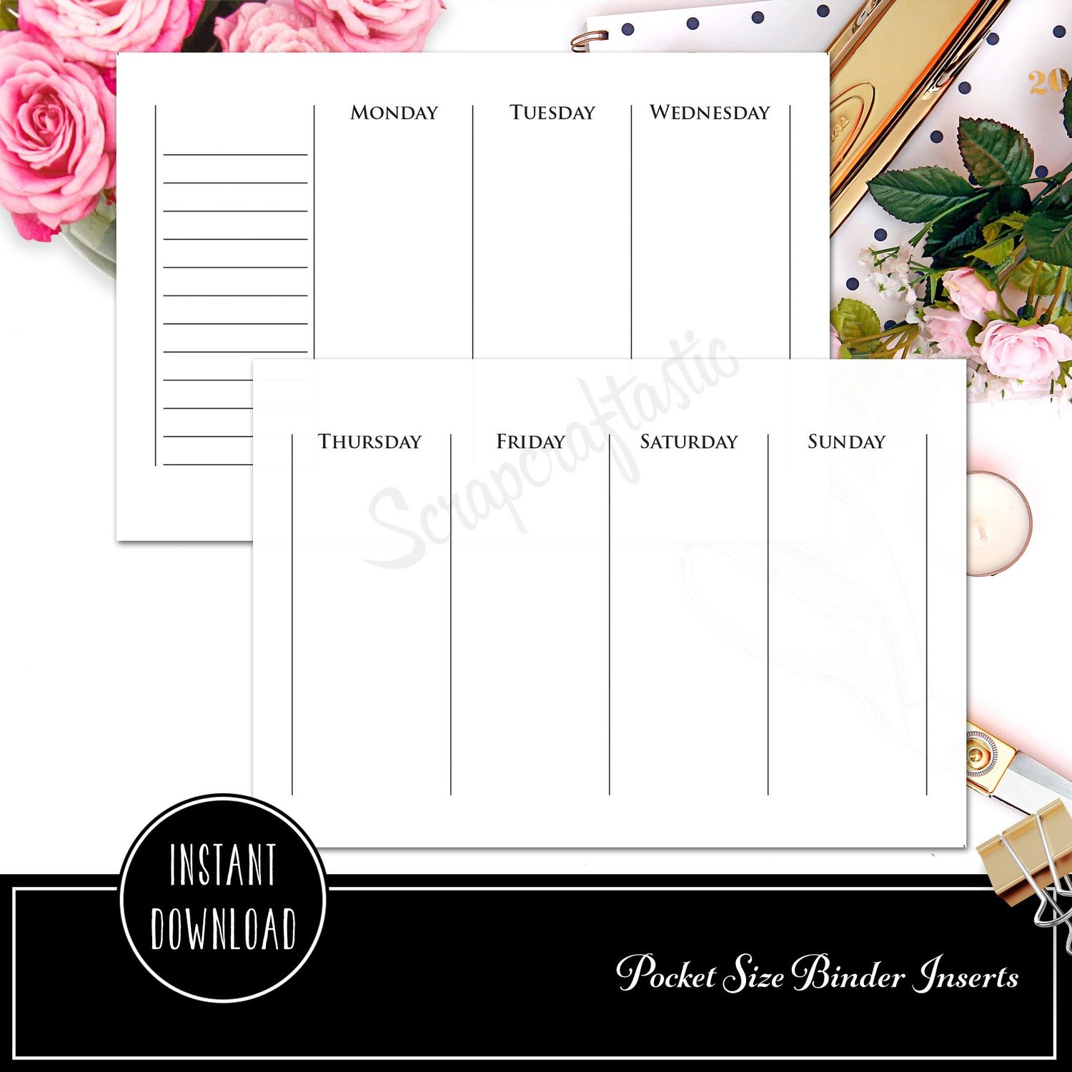 POCKET RINGS - Week on Two Pages Full Horizontal Ring Binder Printable Insert Refill Undated