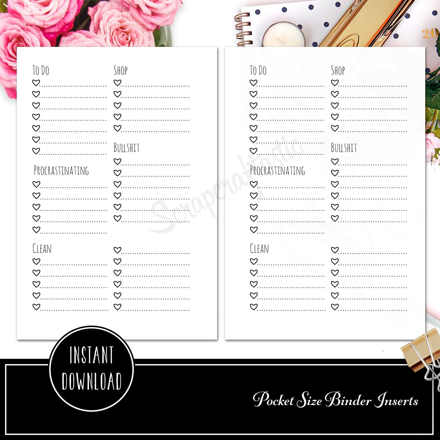 Extreme Listing Pocket Rings Printable Planner Inserts