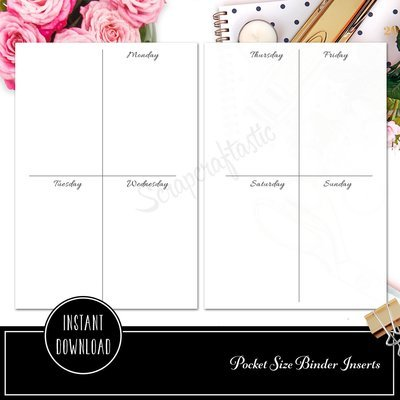 POCKET RINGS - Basic Week On Two Pages (WO2P) Ring Binder Printable Planner Inserts