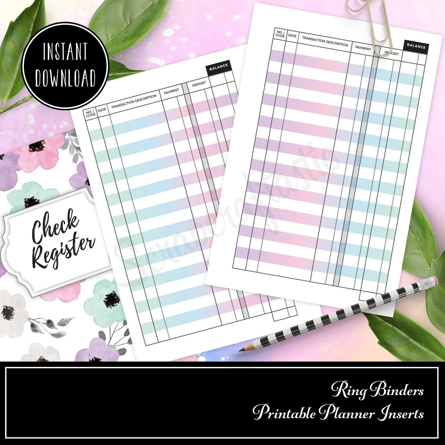 POCKET RINGS - Check Register Binder Rings Printable Insert