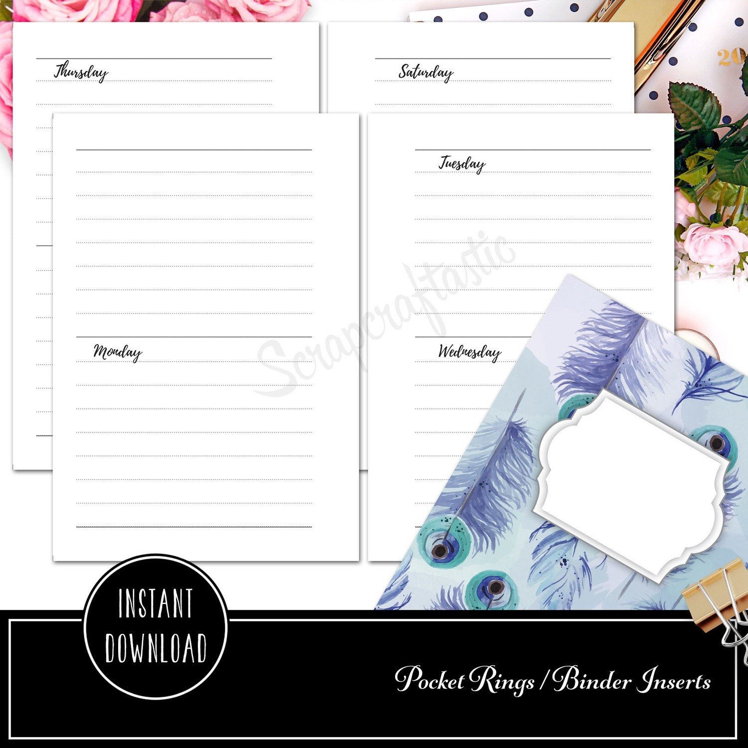 photo relating to Binder Inserts Printable titled POCKET RINGS - 7 days upon 4 Internet pages Horizontal Ring Binder Printable Add Refill Undated
