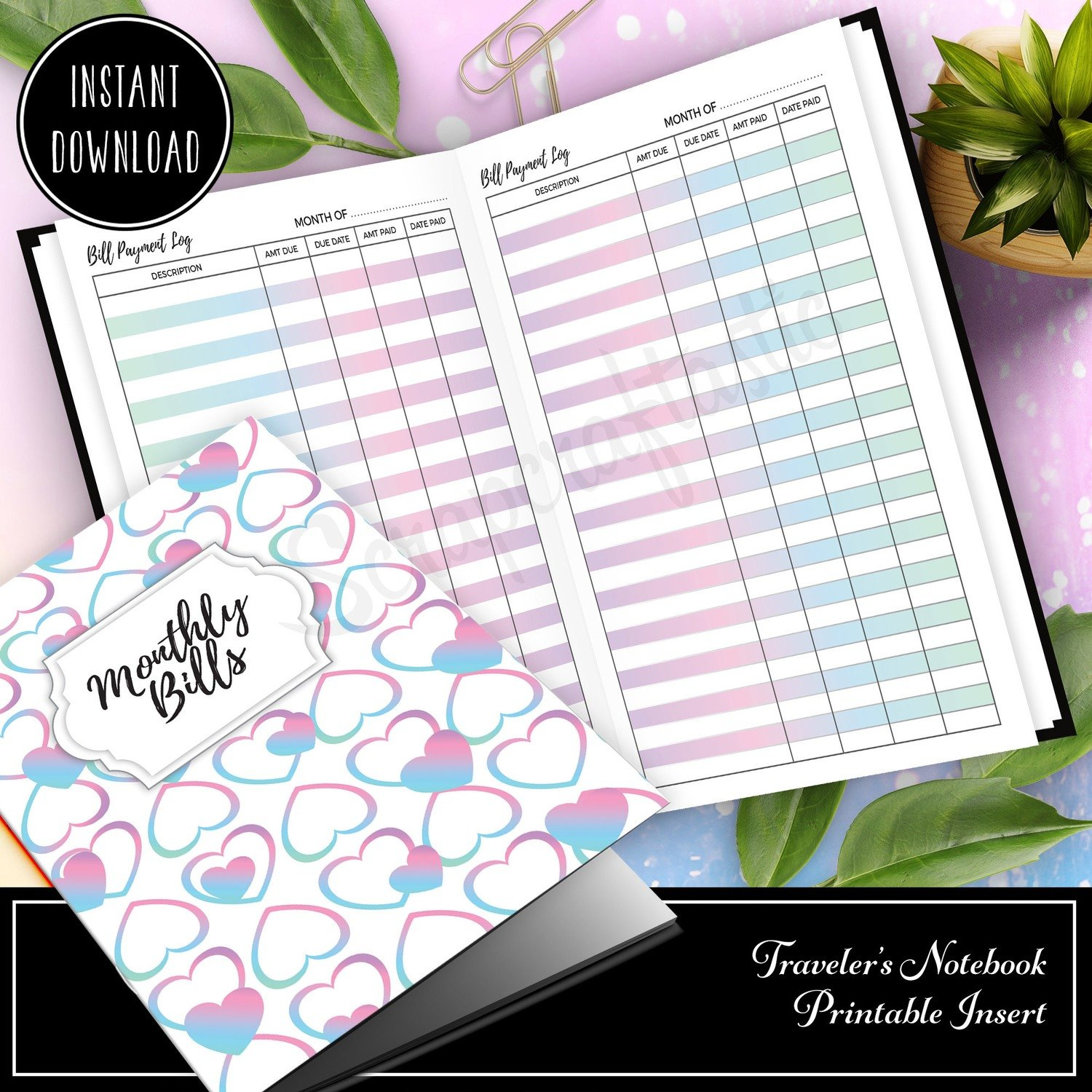 A6 TN - Unicorn Magic Monthly Bill Payment Log Traveler's Notebook Printable Insert