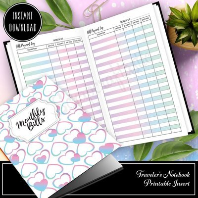 B6 TN - Unicorn Magic Monthly Bill Payment Log Traveler's Notebook Printable Insert