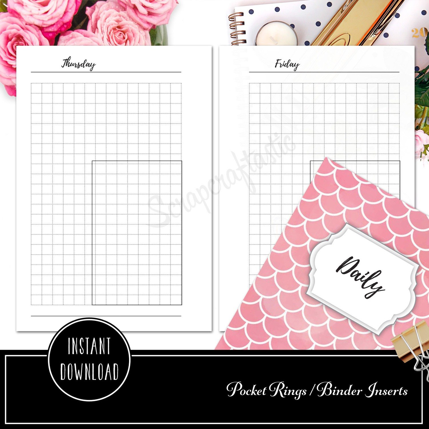 picture about Printable Binder Inserts identify POCKET RINGS - Working day upon A person Web page (DO1P) Grid Box Ring Binder Printable Planner Inserts
