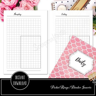 POCKET RINGS - Day on One Page (DO1P) Grid Box Ring Binder Printable Planner Inserts