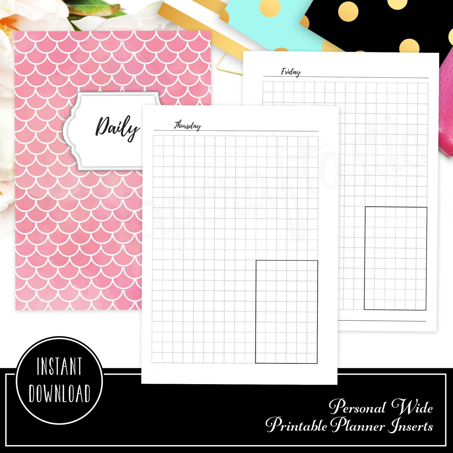 photograph about Binder Inserts Printable identified as Unique Broad - Working day upon A person Website page (DO1P) Grid Box Ring Binder Printable Planner Inserts