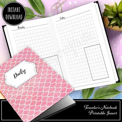 A6 TN - Day on One Page (DO1P) Grid Box Traveler's Notebook Printable Inserts