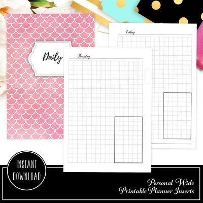 A6 RINGS - Day on One Page (DO1P) Grid Box Printable Planner Inserts