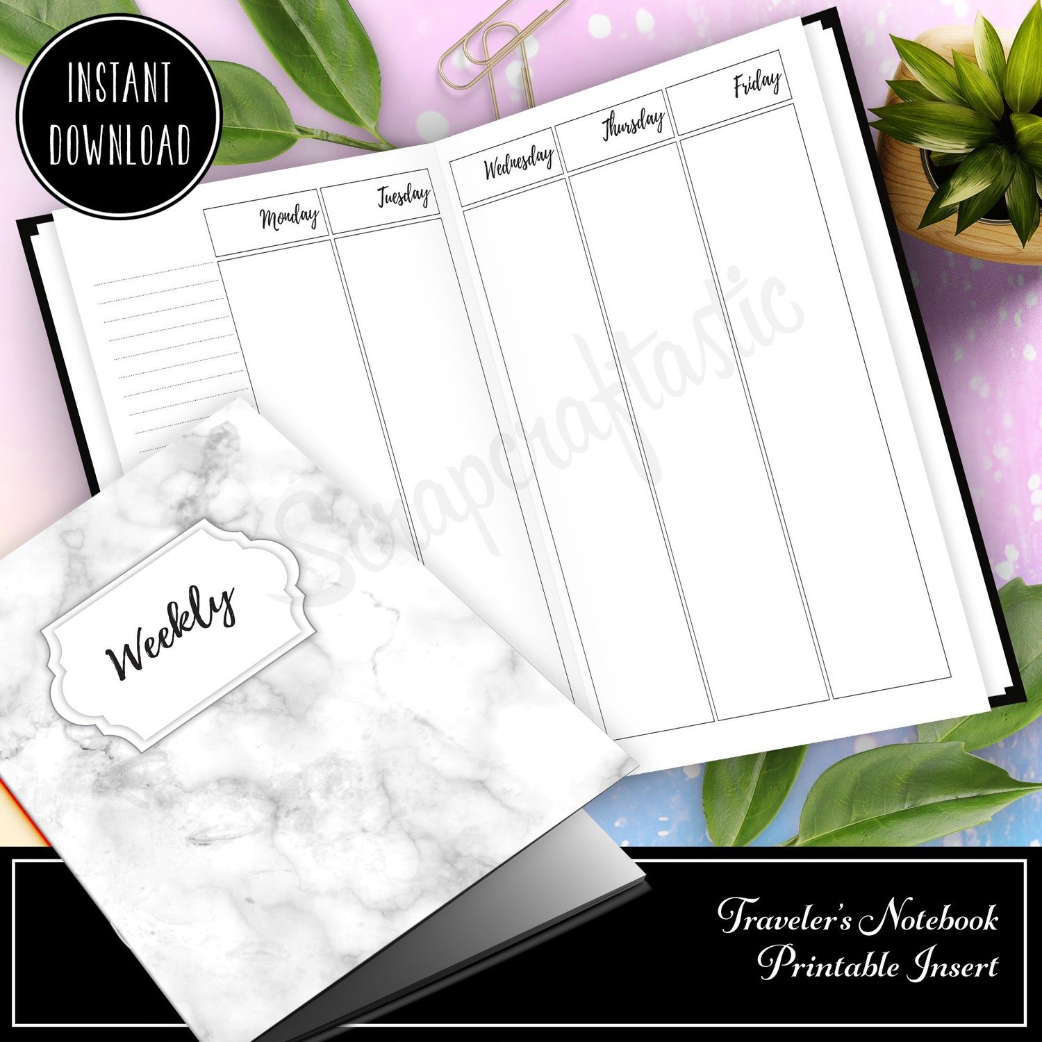 B6 TN - Vertical Columns Week on Four Pages (WO4P) Traveler's Notebook Printable Inserts